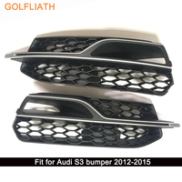 GOLFLIATH S3 Styling ABS Honeycomb Mesh Front Grille Car Bumper Grills For Audi S3 2012 2015
