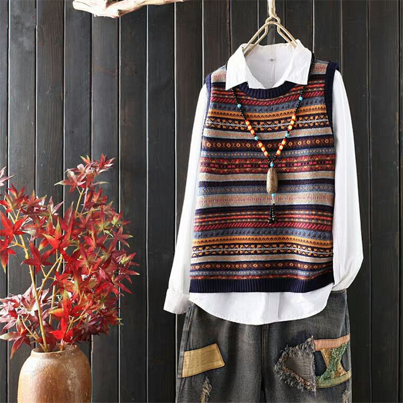 Jacquard Striped Knit Women Sweater Vest Plus Size Sleeveless Vintage Sweater Pullovers Female Casual Spring Autumn Jacket