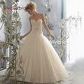Vivian's Bridal Sexy A-Line Natural Design Back Button Sash Sweep Train Chiffon Wedding Dress Sweetangle 2015 Hot Sale RQ12