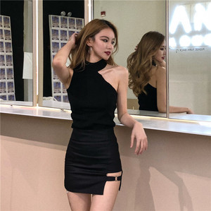Image 5 - Women Halter Neck Off shoulder Knitted Cropped Tank Tops Female Bodycon Tanks Sleeveless Basic Solid T shirts Tees Camisole
