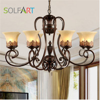 9005 Black Metal Iron Arm Frosted Glass Up Down Shade Hanging Ceiling Chandeliers Lights Lamp Suit