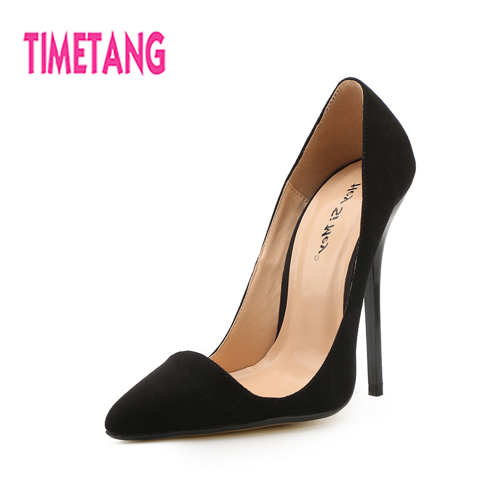 TIMETANG New Arrived Sexy OL Big Size 40-49 Super High Thin Heel Pointed Toe Woman Pumps Dray Queen Shallow Mouth Lady Shoes new arrived ladies thin high heel shoes