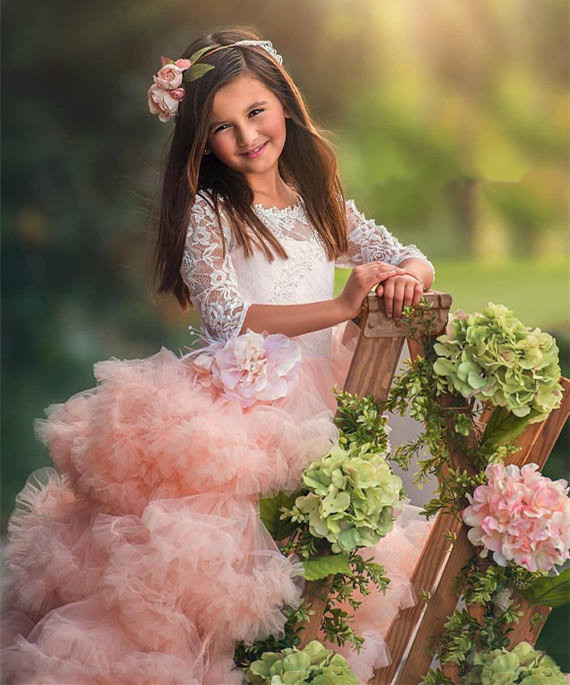 Exquisite Ruffled Flower Girl Dress for Wedding White Lace Pink Tulle Half Sleeve Ball Gown Girls Pageant Gown Custom Made cute short sleeve round neck ruffled balll gown dress for girls