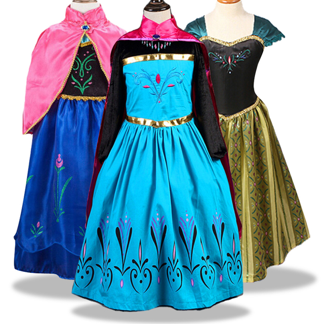 Elsa Anna Cosplay Costume Baby Girls Dress Christmas Summer Dresses Girl Princess Elsa Dress for Birthday Party Vestidos Menina