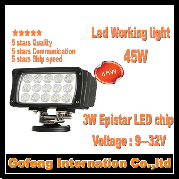 1PCS/LOT new products DC10-30V 45w high power led flood work lights15x3W epistar chip Truck Offroad 12V car lamp free shipping
