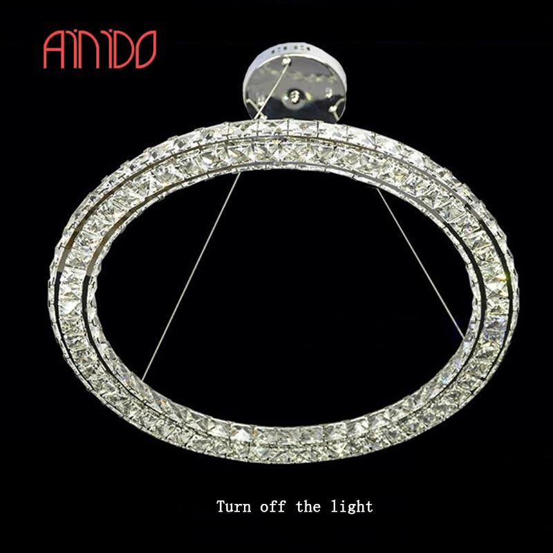 New Modern Pendant Light LED Round 3 Sides Crystal Pendant ...