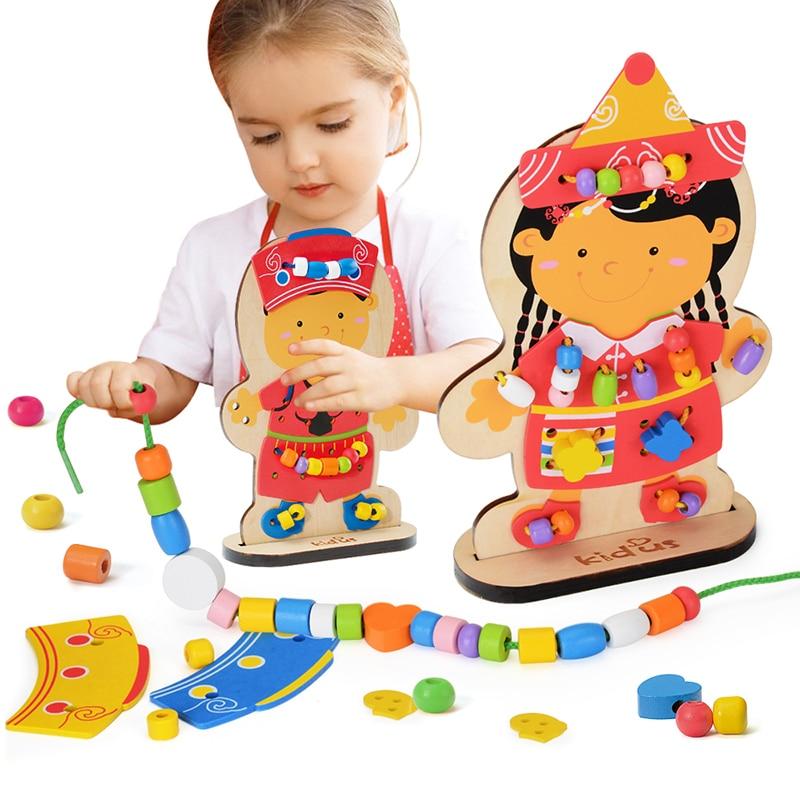 Zalami Learning Education Wooden Puzzle Toys Dolls Beads Montessori Oyuncak For Children