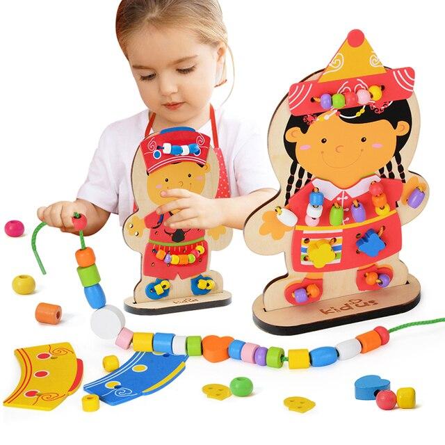 Zalami öğrenme eğitim ahşap bulmaca Oyuncak bebekler boncuk Montessori Oyuncak çocuklar için