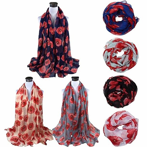 Women Fashion Red Poppy Flower Printed Voile Long   Scarf     Wrap   Stole Shawl
