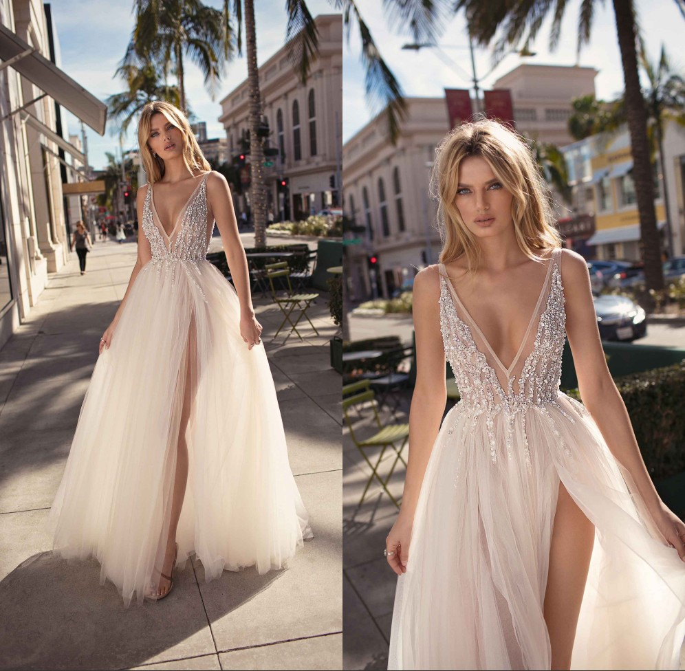 Us 109 99 30 Off Robe De Mariage Y V Neck Boho Wedding Dresses 2019 Sheer Beaded Tulle High Backless Beach Bride Dress Gowns In