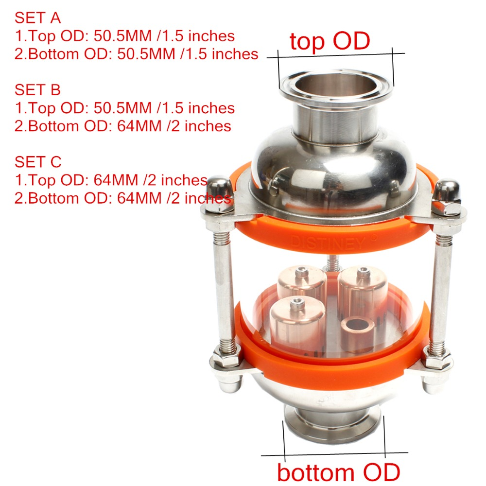 copper bubble Distillation column with 1 sections for distiller Glass column