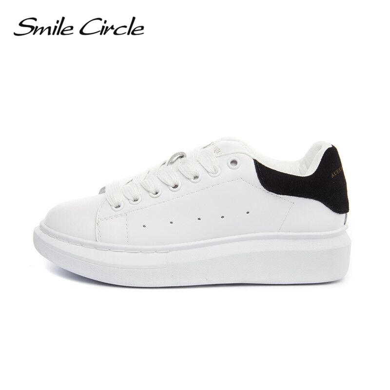 Smile Circle Big Size 35-43 Spring Autumn Genuine Leather Sneakers Women White Shoes Fashion Lace-up Platform Shoes For women smile circle genuine leather sneakers women fashion flat platform shoes women lace up casual shoes black white sneakers autumn