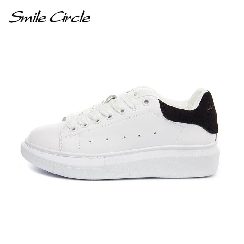 Sourire Cercle Grande Taille 35-43 Printemps Automne En Cuir Véritable Sneakers Femmes Blanc Chaussures De Mode Lace-up Plate-Forme chaussures Pour femmes