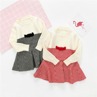 Camisola Da Menina Da criança Vestido de Criança Roupas de Inverno Do Bebê da Manta de Tricô Arco Vestidos Marca Vestido de Princesa Quente Roupas Outono Nova 1-4Y