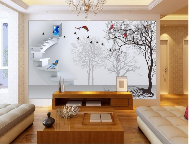 3d Wall Murals Wallpaper For Kids Room Custom 3d Wallpaper 3D Staircase  Bird Tree Living 3d