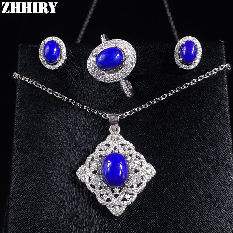 ZHHIRY Natural Gem Jewelry Set Genuine Solid 925 Sterling Silver Sets Deep Blue Stone Women whisky premium deep blue 90 мл parfums evaflor whisky premium deep blue 90 мл