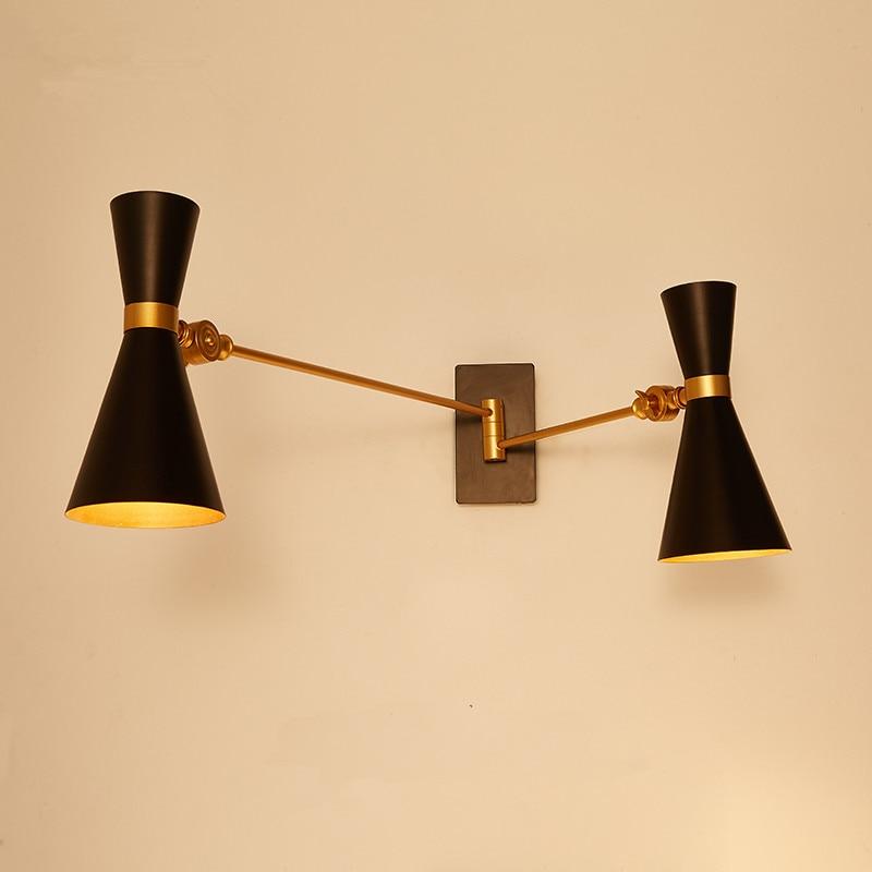 Hanging Wall Lamp: Creative Wall Mounted Swing Arm 2 Heads Modern Wall Lamp