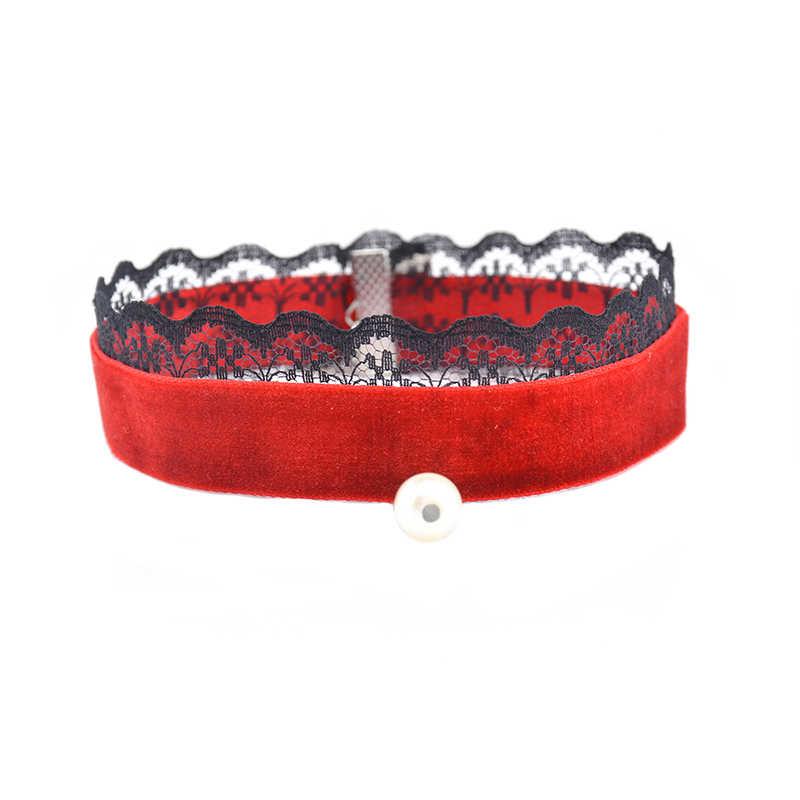 Pingente de pérola de Veludo Rendas Gargantilha Colar Retro Gothic Rosa Preto Vermelho Elegante Gargantilhas Jóias Para Mulheres #92099