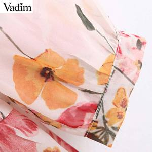 Image 5 - Vadim נשים מתוקה שיפון פרחוני הדפסת טלאים midi שמלה ארוך שרוול להנמיך צווארון נשי מזדמן אופנה vestidos QB848