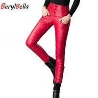 BerylBella Mujeres pantalones Abajo 2017 Baile de Invierno Pantalones calientes Chanel Delgados de Cintura Alta Outer Wear pantalón Pantalones Abajo de las mujeres De mujeres