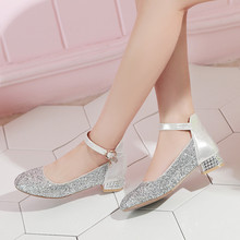 YMECHIC 2018 Ankle Buckle Strap Bling Gold Silver Crystal Ladies Party Wedding  Shoes Chunky Low Heel e32ded059085