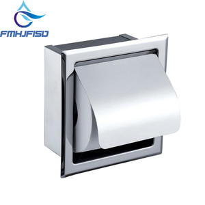 Stainless Steel Polished Chrome Toilet Paper Holder Wall Mounted Concealed Toilet Paper Free  Shipping