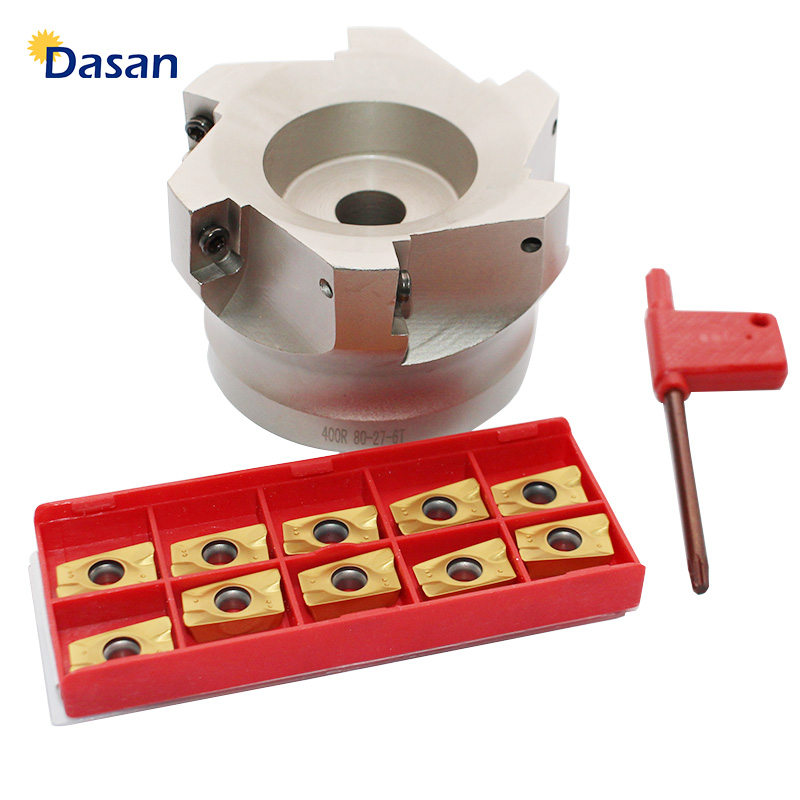 1pcs BAP 400R 80 27 6T and 10pcs Carbide Inserts APMT1604 PDER Indexable Endmill Right Angle Shoulder Face Mill Cutter Set
