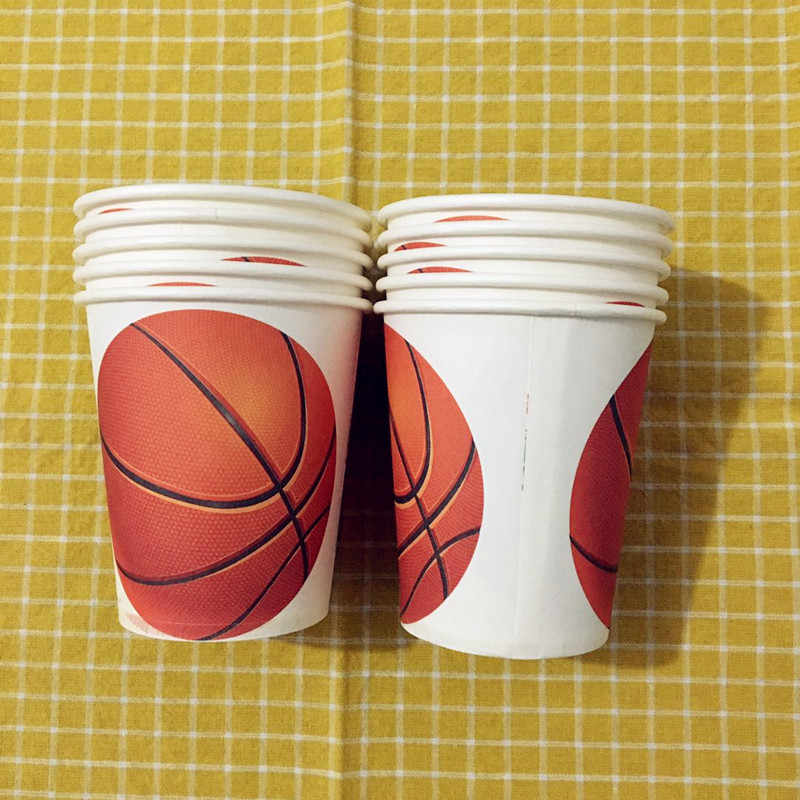 Basketball Theme Disposable Round Paper Plates Cups For Kids Girl Boy Birthday Party Decoration Tableware Set For Kids Favors