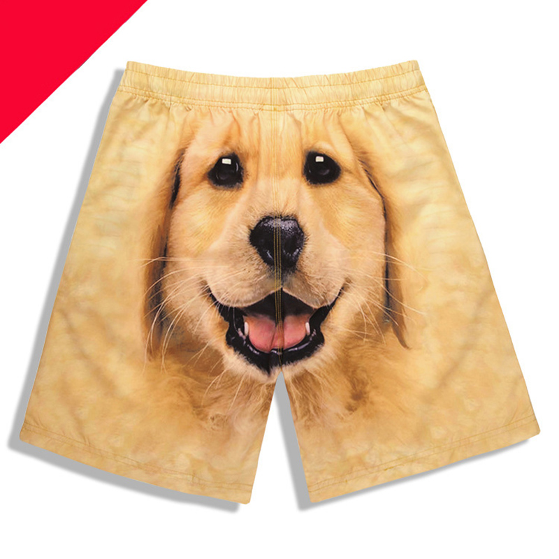 Newest Men's 3D Dog Head Printed Beach Pants Dog Printing Board Shorts Men Surfing Short Trousers Man Loose Swim Trunks