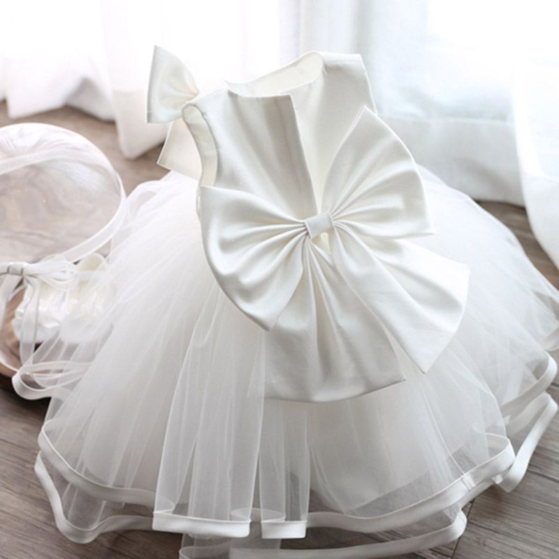 New TUTU Style Big Bow Dress For Kids Girl Wedding Sleevelss Christening Party Clothes Dresses Infant Girls White 2016 new style kids infant baby girl flower girl dress for wedding girls party dress with big bow lace dress for 3 8years