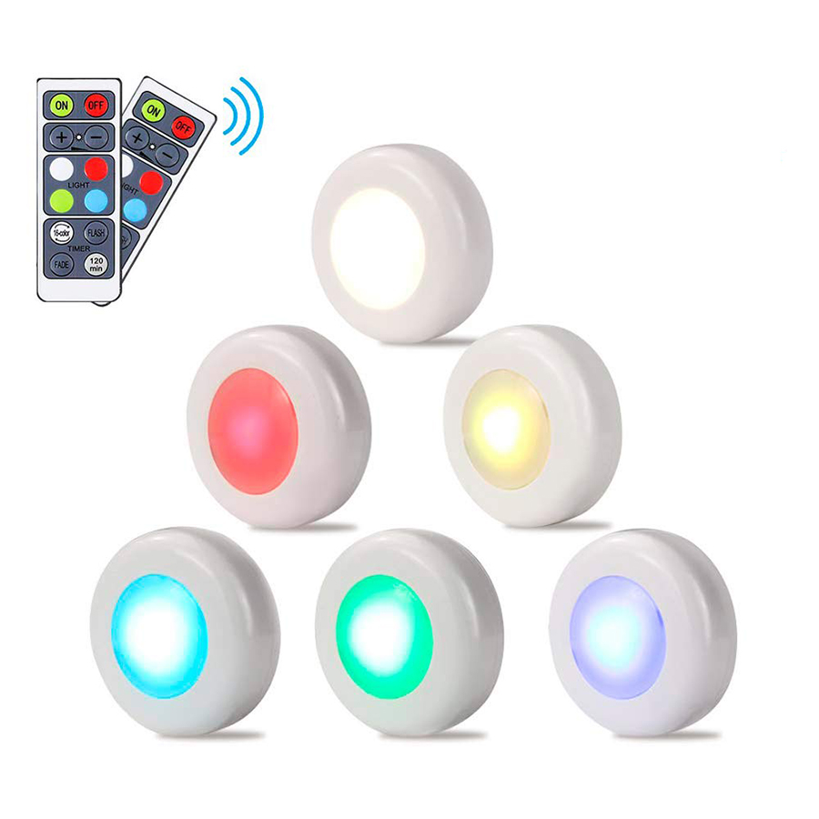 RGB 16 Colors 3 Modes LED Closet Light Wireless Dimmable Touch Sensor Under Cabinet Light LED Puck Light Wardrobe Night Lights