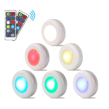 RGB 16 Colors 3 Modes LED Closet Light Wireless Dimmable Touch Sensor Under Cabinet Puck Wardrobe Night Lights