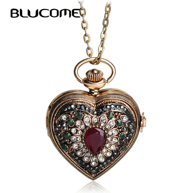 Blucome vintage flower love heart shape necklace crystal resin blucome vintage flower love heart shape necklace crystal resin turkish antique gold color pocket watch aloadofball Images