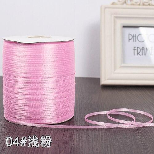 3 мм ширина бордовые атласные ленты 22 метра швейная ткань подарочная упаковка «сделай сам» ленты для свадебного украшения - Цвет: Pink