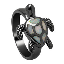 Vnfuru White Tortoise Rings Jewelry Black Fire Opal Stone Women Animal New Vintage Sea Turtle Ring