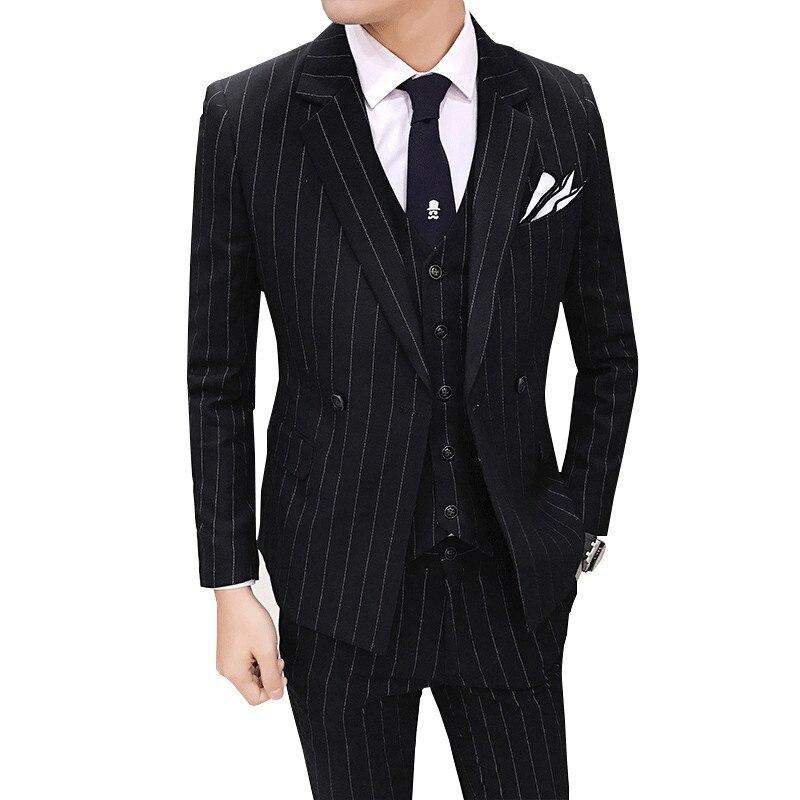 (Chaquetas + chaleco + Pantalones) trajes formales de novio a rayas de moda de marca de gama alta para hombre/traje de negocios de doble botonadura para hombre-in Trajes from Ropa de hombre    3