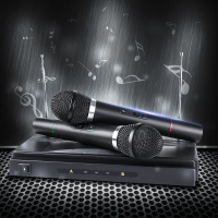 Dual Cordless Wireless Handheld Microphone 2 Mic With Receiver For Karaoke DJ Sing Songs Microphones Mobility Affordable