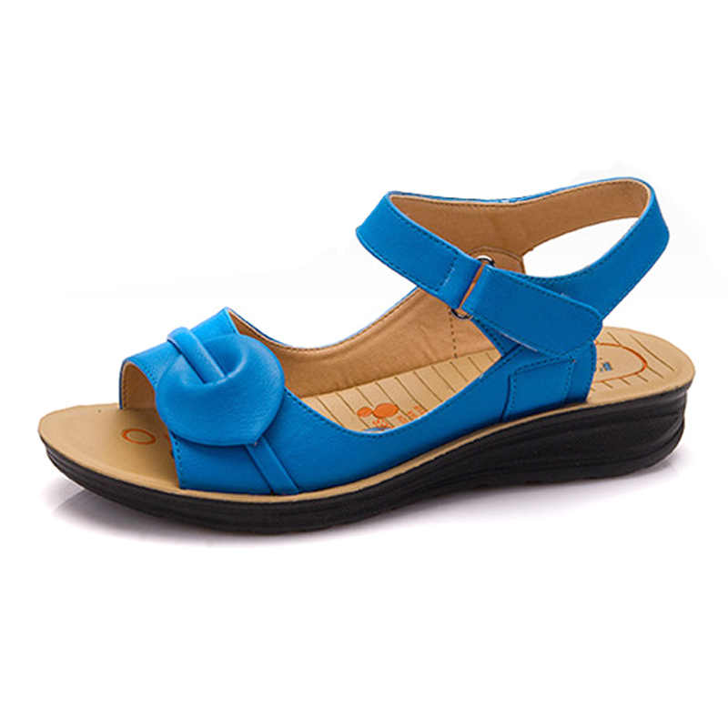 YAERNI Boyutu Yaz Kadın Hakiki Deri Sandalet Vintage Bayanlar Düz Sandials Ayak Bileği Kayışı Moda Rahat Platformları yumuşak ayakkabı