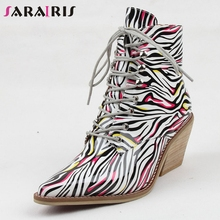 SARAIRIS brand new big size 35-43 lace up print ladies high heels pointed toe shoes woman casual party autumn ankle boots