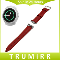 Calf Genuine Leather Watchband for Samsung Gear S2 R720 / R730 Replacement Watch Band Croco Strap Wrist Belt Bracelet Black Red