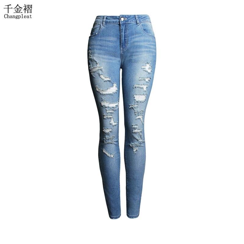 Model 2016 Fashion Ripped Hole Skinny Woman Jeans Plus Size Women Light Blue