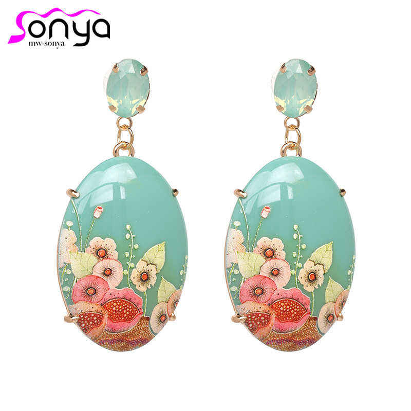 New Arrival Vintage Drop Earrings for Women Flower Printed Acrylic Material Female Ear Jewelry Best Birthday Gift ET534