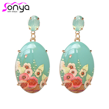 New Arrival Vintage Drop Earrings for Women Flower Printed A