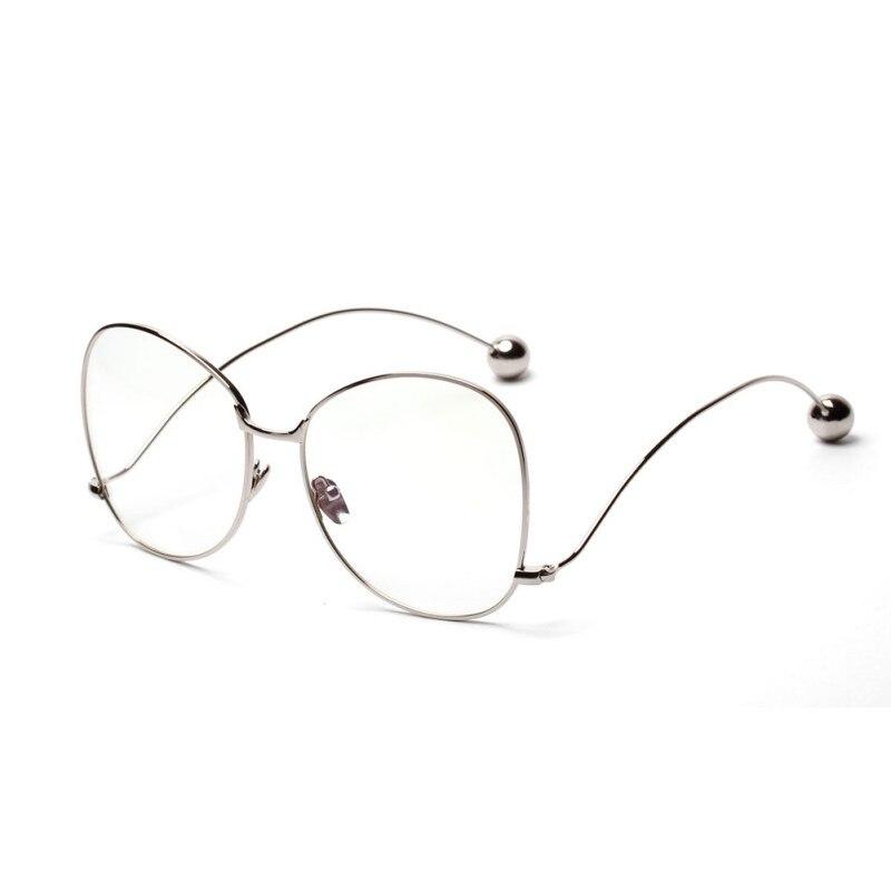 Unisex Men Women Eyewear Mental Frame Iron Beads Glass Clear Lens Nerd Geek Round Glasses