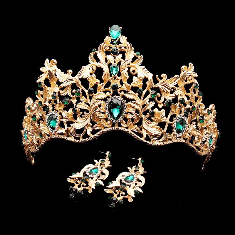 Barokk Vintage Green Rhinestone Princess Tiara og Crown Crystal Brudehårtilbehør Queen Wedding Diadem For Women