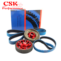 Adjustable Billet Cam Gears + Timing Belt For 93 01 Honda Prelude H22 DOHC VTEC RED / BLUE