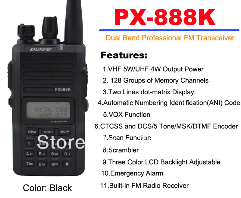 Black Color PUXING PX-888K Dual Band Professional FM Transceiver Puxing px88k 5W Walkie Talkie for ham hotel carBlack Color PUXING PX-888K Dual Band Professional FM Transceiver Puxing px88k 5W Walkie Talkie for ham hotel car