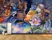 Custom Kiss of Fairy in fantasy forest wallpaper mural Love of Spirit unicorn tv sofa bedroom living room cafe bar restaurant
