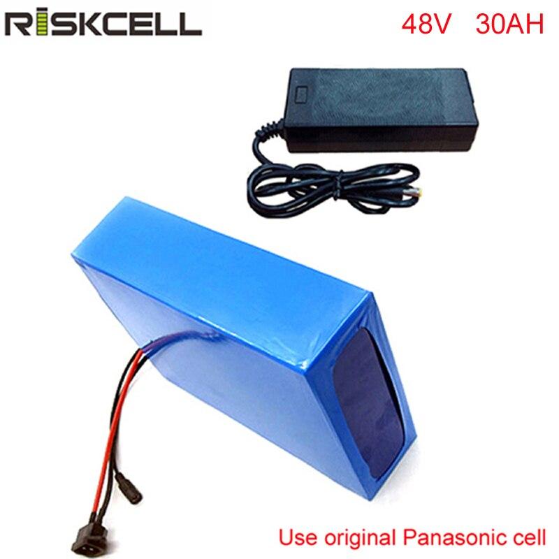 DIY 48 48 volt 2000 w bateria bicicleta v 30ah bateria de lítio com carregador e BMS 50A rápido Para celular Panasonic