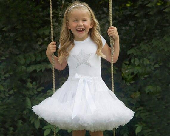 Юбка для маленьких девочек; детская Пышная юбка-американка для девочек; винно-красная юбка-пачка; детская юбка; пышная юбка-пачка для маленьких девочек; - Цвет: Белый